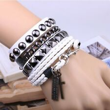 Mens Multi Layer Wrap Cuff Bracelet Bangle Leather Hemp Wrist Band