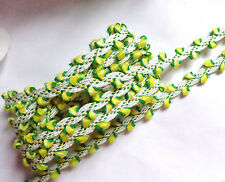 Rose Bud Trim yellow/green  3/8  Inch wide selling by the yard