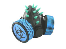 BLACK CYBER RESPIRATOR MASK UV BLUE SPIKES BIOHAZARD RAVE GOTH STEAMPUNK