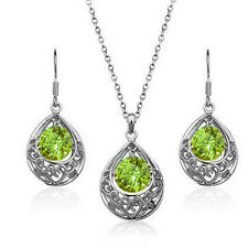 Silver & Green Hollow Teardrop Jewellery Set Drop Earrings & Necklace S495
