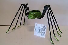 BLACK & GREEN METAL SPIDER VOTIVE HALLOWEEN TRICK TREAT DECORATION FALL AUTUMN