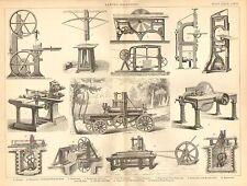 1874 PRINT ~ SAWING MACHINE ~ BELT SAW CIRCULAR TENON-CUTTING MACHIN SAW VENEER