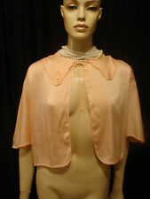 30s Vintage Peach Tissue Silk Bed Jacket Faggoting S-M