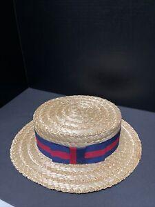Olney Vintage Style Boater/skimmer straw hat Size 57/7