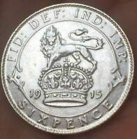 1915 Great Britain 6 Pence .925 SILVER  George V **AU** HIGHER GRADE GB COIN