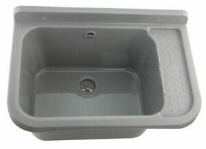 Spülbecken aus Polypropylen Ausgussbecken Waschschale Wandmontage Hof/Garage