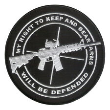 "5"" Embroidered Patch ""My Right to Bear Arms will be Defended"" NRA 2nd Amendment"