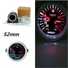 "Universal Carbon Fiber 2"" Cover Car Turbo Boost Gauge Meter White LED Display"