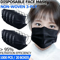 [Black] 3-Ply Disposable Face Mask 1000 PCS Non Medical Earloop Dust Cover Masks