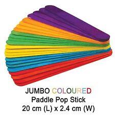 52x JUMBO Multi Coloured Wooden Craft Stick Paddle Pop Popsicle Sticks 20x2.4cm