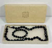 Vintage French Jet Necklace & Matching Bracelet Collar Length Faceted Beads
