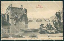 Roma Città Ponte Rotto Barca PIEGA cartolina QT2079