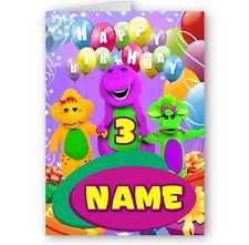 Barney personnalisé et amis, un nom et âge A5 Joyeux Anniversaire Carte avec enveloppe