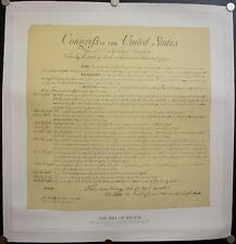 c. 1976 The Bill of Rights Poster on Linen Vintage 33 X 31.5