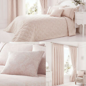 """Laurent Pink. Bumper Bundle. Bed Throw. 66x72"""" Lined Curtains & 1 Cushion Cover"""
