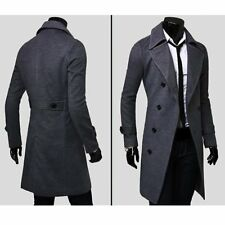 Mens Winter Formal Trench Coat Double Breasted Overcoat Long Wool Jacket Outwear