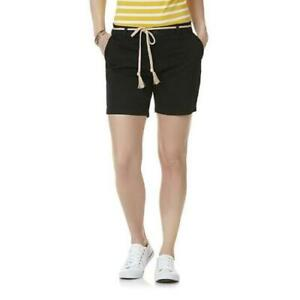 """Women's Riders By Lee Belted 6"""" Mid ris Chino Shorts Black Size 12 18   (B100)"""