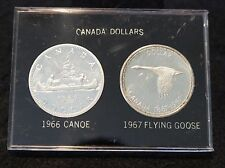 1967 Canadian Confederation & 1966 Silver Dollars  80% SILVER In Hard Case NICE!