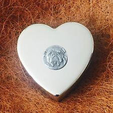 Silver Plated Trinket Pill Jewellery Box Antique Pewter British Bulldog Emblem