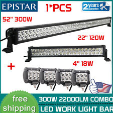 52Inch 300w Led Off road Light Bar Combo+ 22in+4Pcs 4inch CREE pods Offroad Jeep