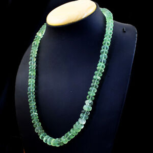 462.00 Cts Natural Untreated Green Fluorite Round Shape Beads Necklace NK 20E38