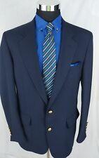 Vtg Palm Beach USA Navy Blue Blazer Gold 2 Button Sport Coat Jacket Size 42L