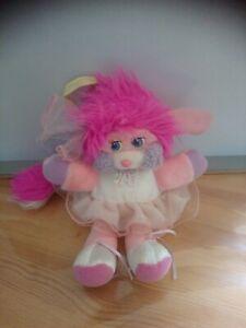 Peluche Popples rose blanc danseuse ballerine tutu 25 cm Mattel 1987