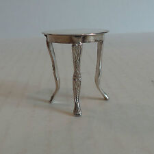 Vintage Sterling Silver Miniature Occassional Table, Embossed Design On Legs