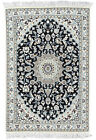 Fine Oriental Nain Rug, 3'x5', Blue, Hand-Knotted Wool Pile
