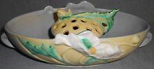 Circa 1930s Roseville Pottery POPPY  PATTERN 2 pc Bowl w/Flower Frog