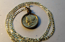 """Gold Plated Finer Mercury Dime Pendant on a 20"""" 18k Gold Filled Figaro Chain."""