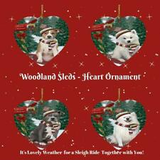 Woodland Sled Dog Cat Pet Photo Lovers Heart Christmas Tree Ornament