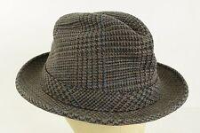 394293ae5c6 Vintage London Fog Houndstooth Brown Blue Black Wool Hat Fedora Size 7