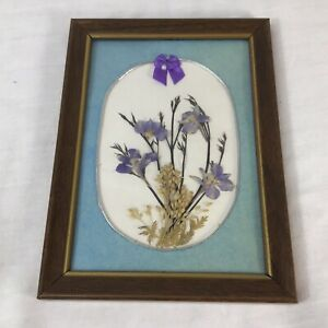 Flowers Dried Pressed Wood Picture Frame Decor Gallery Wall 5 1/4x7 7/8 Vintage