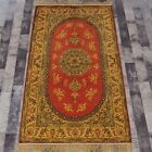 YILONG 3'x5' Antique Handknotted Silk Golden Carpet Washed Floral area Rug G32C
