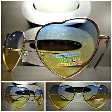 VINTAGE 80's RETRO Style HEART SHAPED SUN GLASSES Gold Frame Blue & Yellow Lens