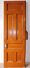 1890's Wooden Pocket Door Victorian Style Quarter-Sawn Oak Six Panel Ornate