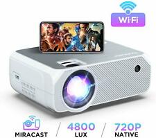 Projector Wifi, 4800 Lumens Bomaker Native Resolution 1280 720P Wireless