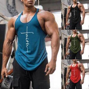 Men's Gym Vest Racerback Bodybuilding Muscle Stringer Plain Tank Tops Fitness US