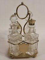 Vintage Silver Plated Crystal Glass 3-Piece Cruet Condiment Set w/Stand