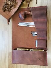 More details for pipe / tobacco smoking pocket roll soft premium leather with tobacco tray