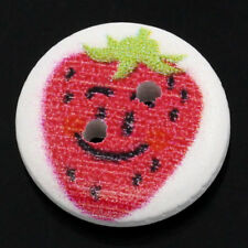The Bead and Button Box - 6 wooden Cute Strawberry buttons, 15mm