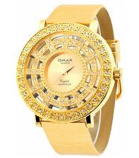 Edle Omax Damenuhr Gold Glasboden PU Leder Armbanduhr EAN 4212345003820