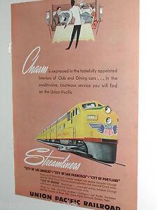 1949 UNION PACIFIC RR advertisement, UP Streamliner train, diesel engine