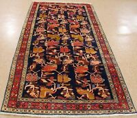 """4'5"""" x 10' Persian MESHKIN Tribal Hand Knotted Wool NAVY RED Oriental Rug Runner"""