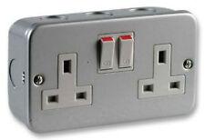 Metal clad 230v 240v 13A mains double socket & back mounting box garage workshop