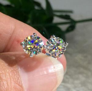 Fashion Women 925 Silver Cubic Zirconia Round Stud Earrings Wedding Jewelry Gift