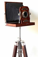 Designer Vintage Retro Look Wooden Camera with Tripod Nautical Home Decorative