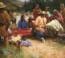 Howard Terpning A FRIENDLY GAME AT RENDEZVOUS 1832 40x45 Native American Canvas