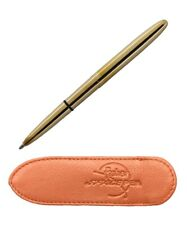 FISHER Bullet Space Pen & Leather Pouch- Raw Brass Pen & Tan Pouch
